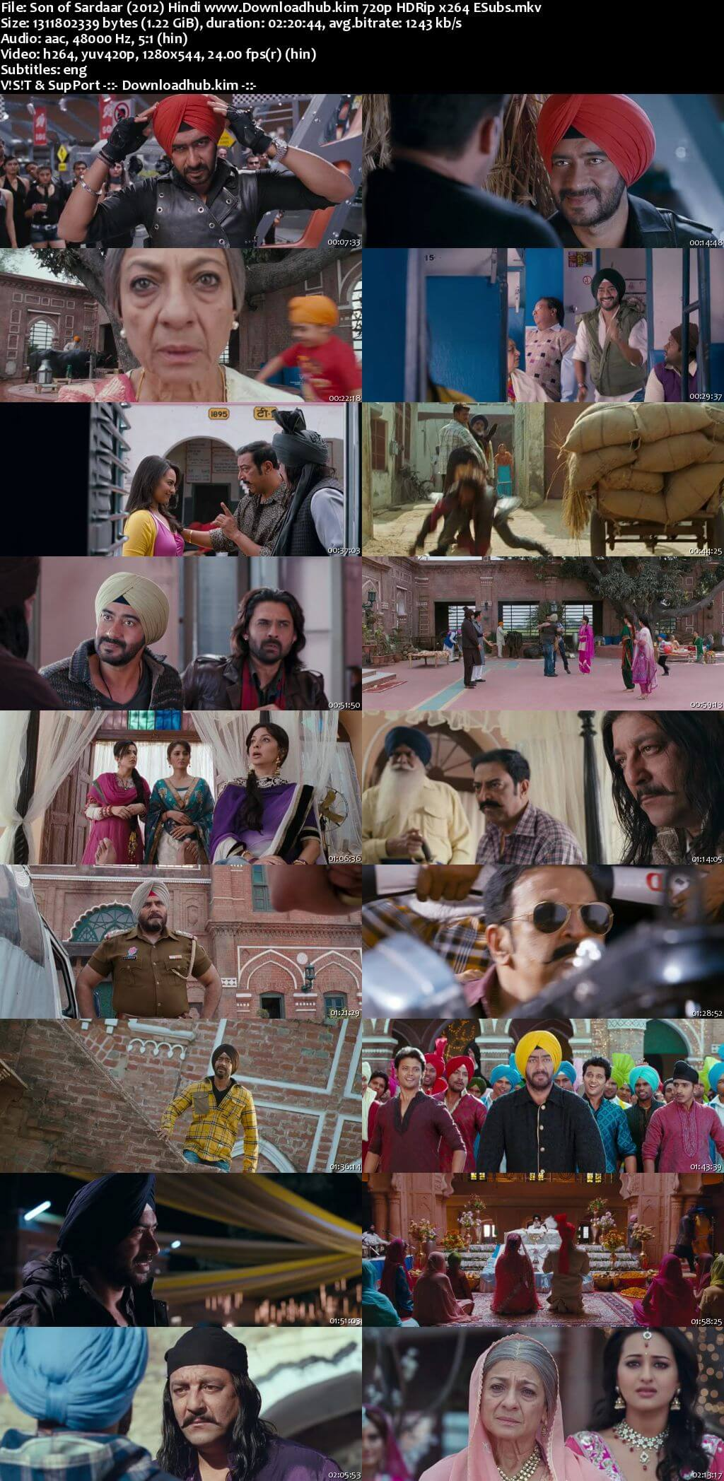 Son of Sardaar 2012 Hindi 720p HDRip ESubs
