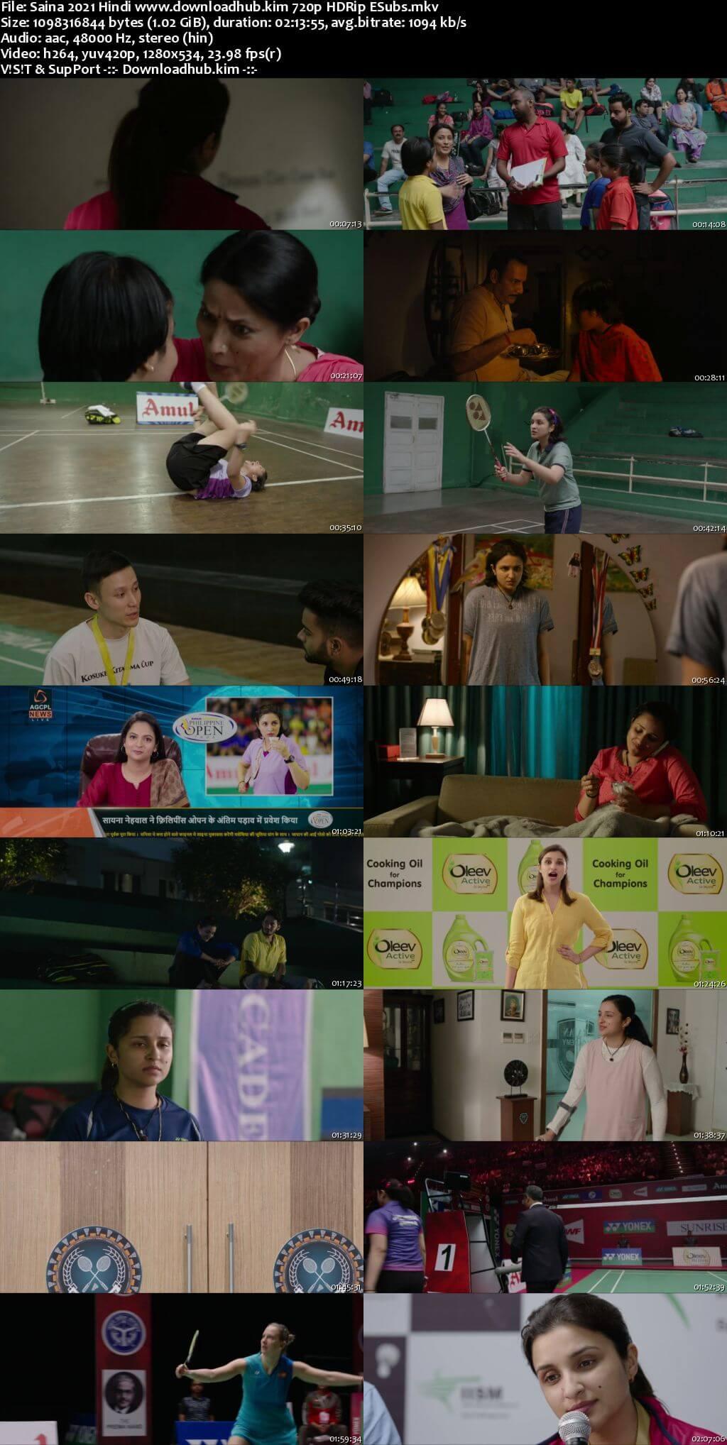 Saina 2021 Hindi 720p HDRip ESubs