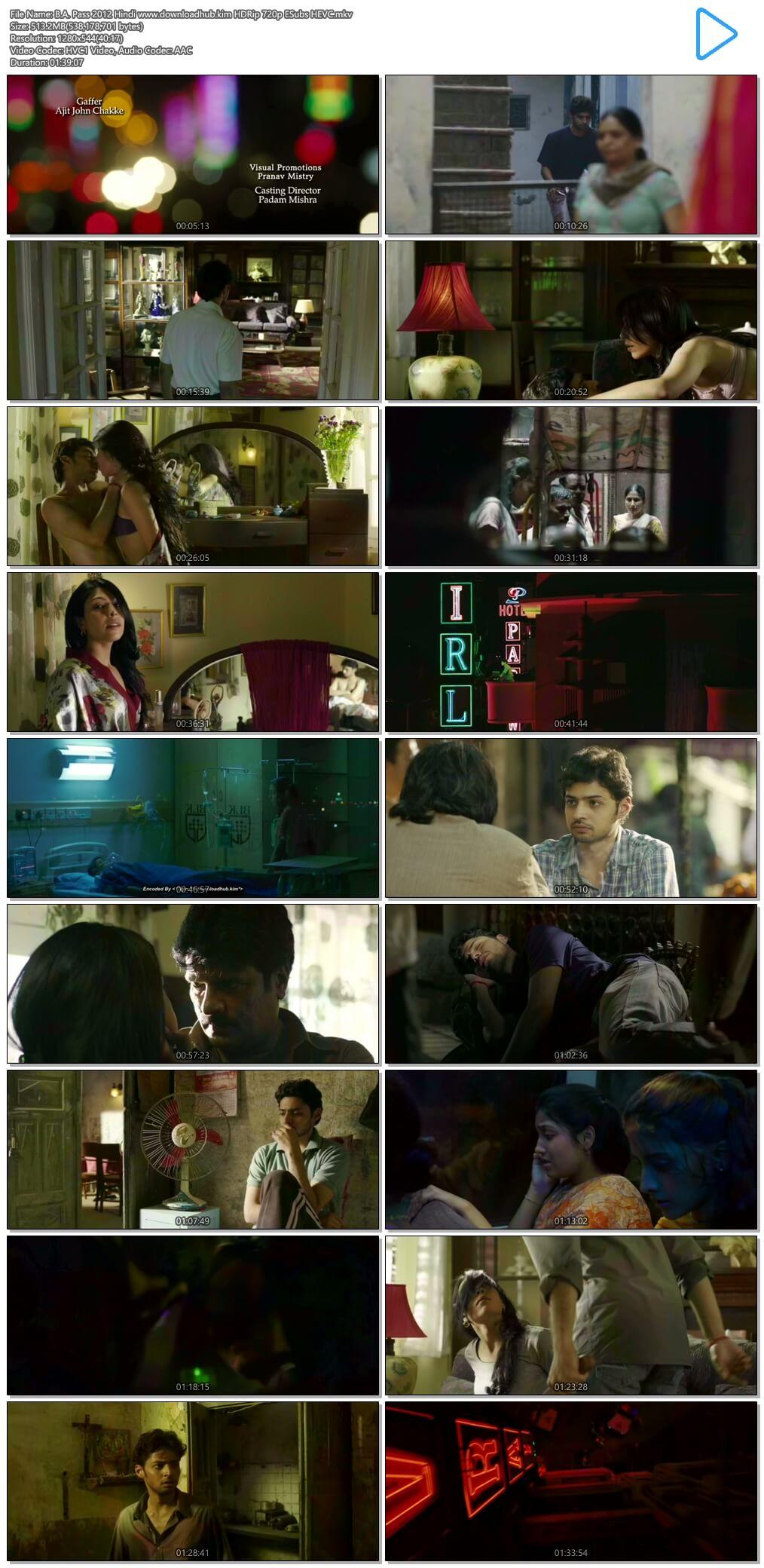 B.A. Pass 2012 Hindi 500MB HDRip 720p ESubs HEVC