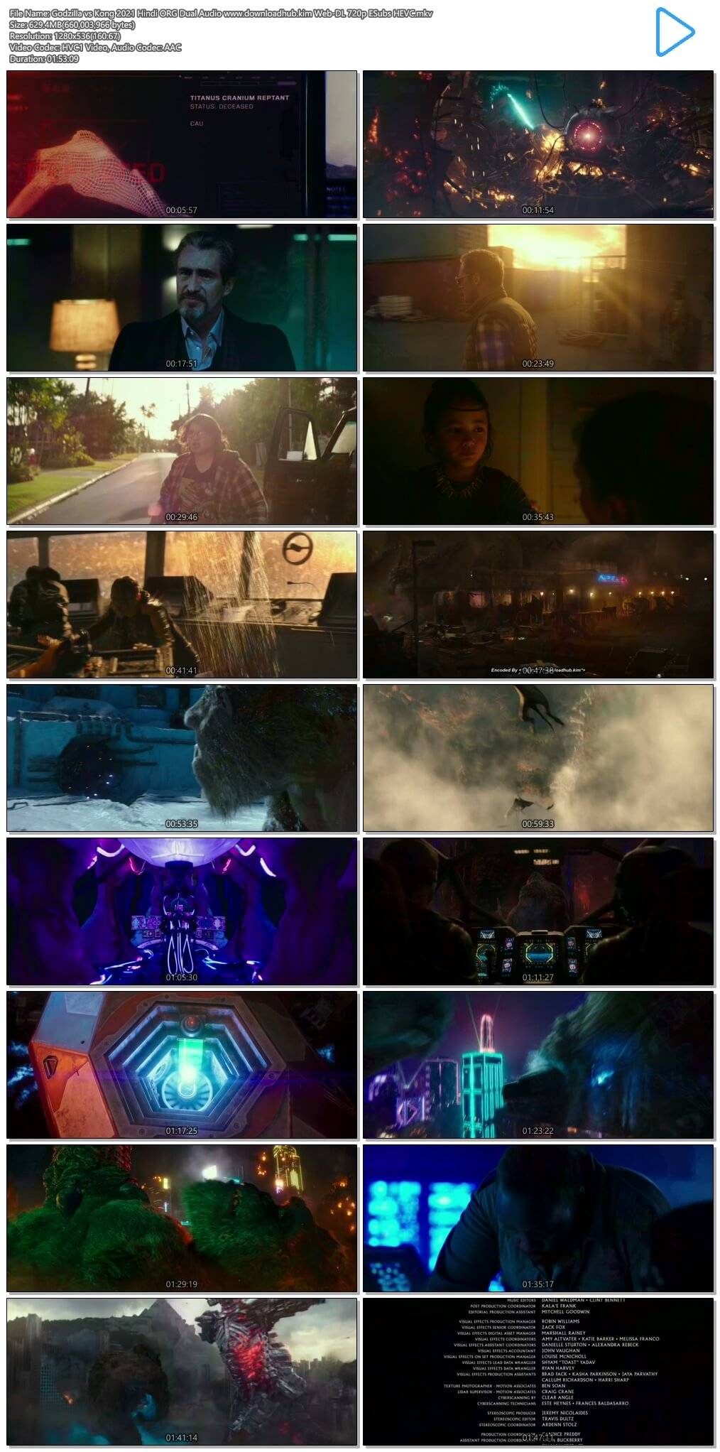 Godzilla vs Kong 2021 Hindi ORG Dual Audio 600MB Web-DL 720p ESubs HEVC