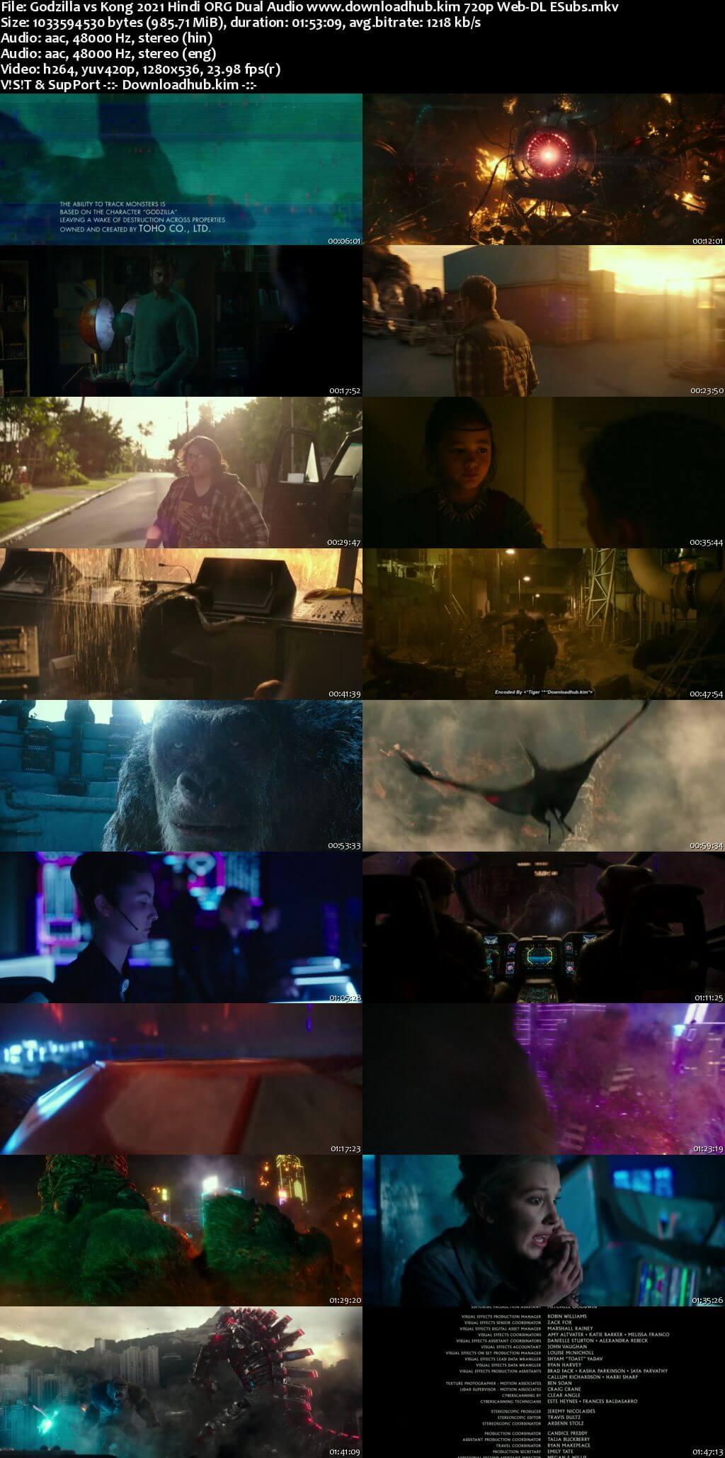 Godzilla vs Kong 2021 Hindi ORG Dual Audio 720p Web-DL ESubs