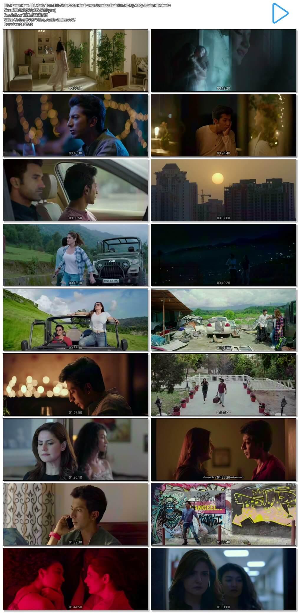Hum Bhi Akele Tum Bhi Akele 2021 Hindi 600MB HDRip 720p ESubs HEVC