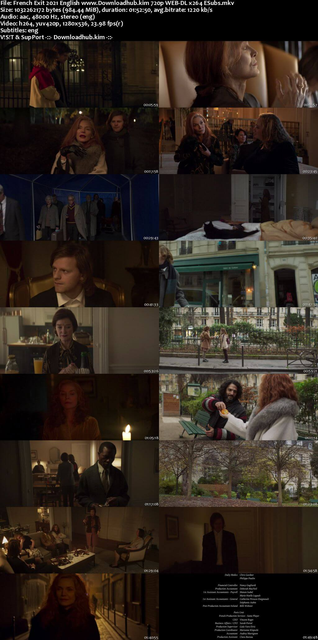 French Exit 2021 English 720p Web-DL 950MB ESubs