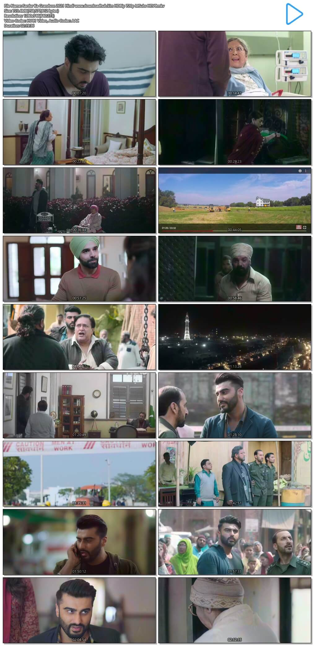 Sardar Ka Grandson 2021 Hindi 700MB HDRip 720p MSubs HEVC
