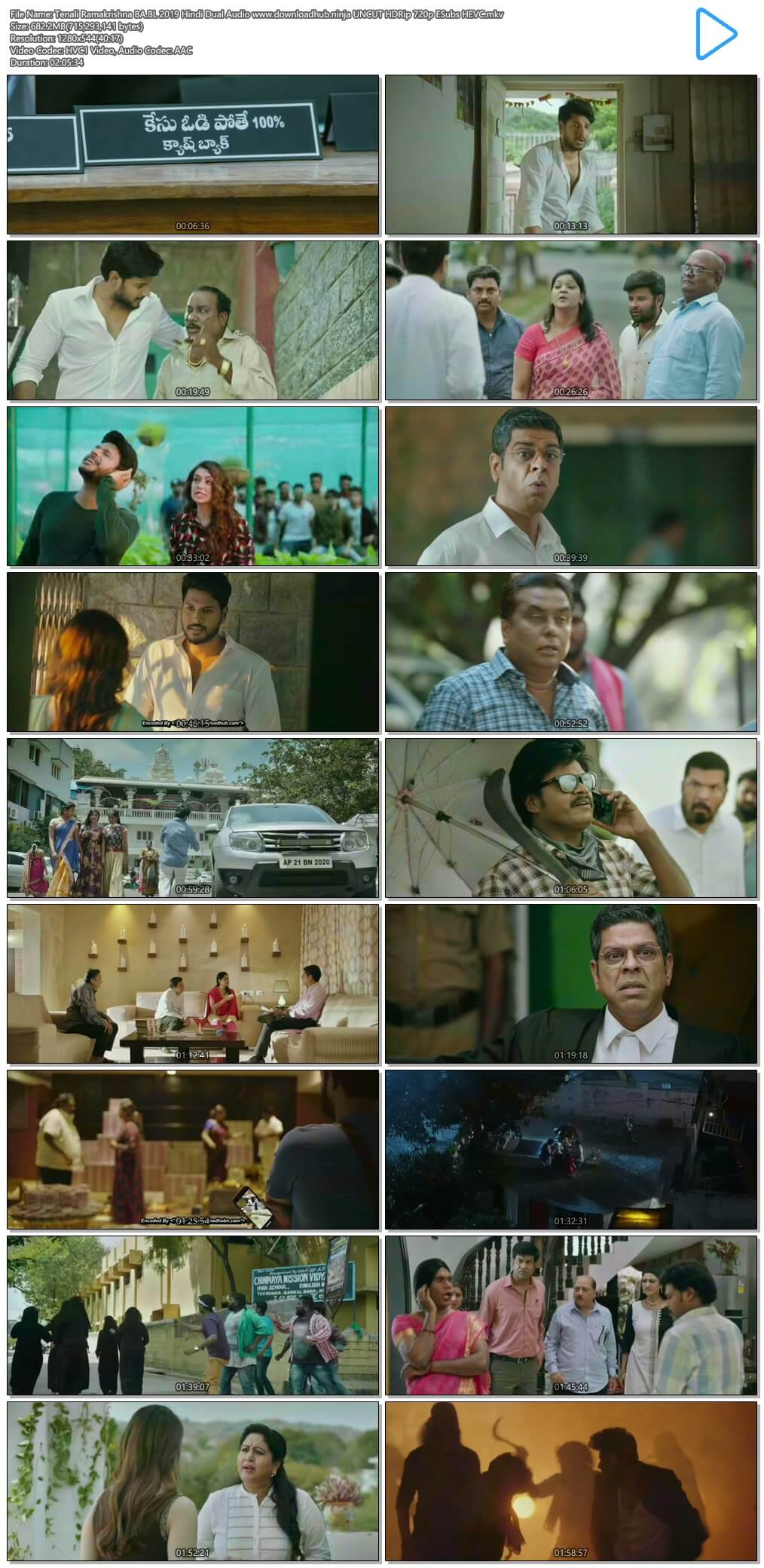 Tenali Ramakrishna BA.BL 2019 Hindi Dual Audio 650MB UNCUT HDRip 720p ESubs HEVC