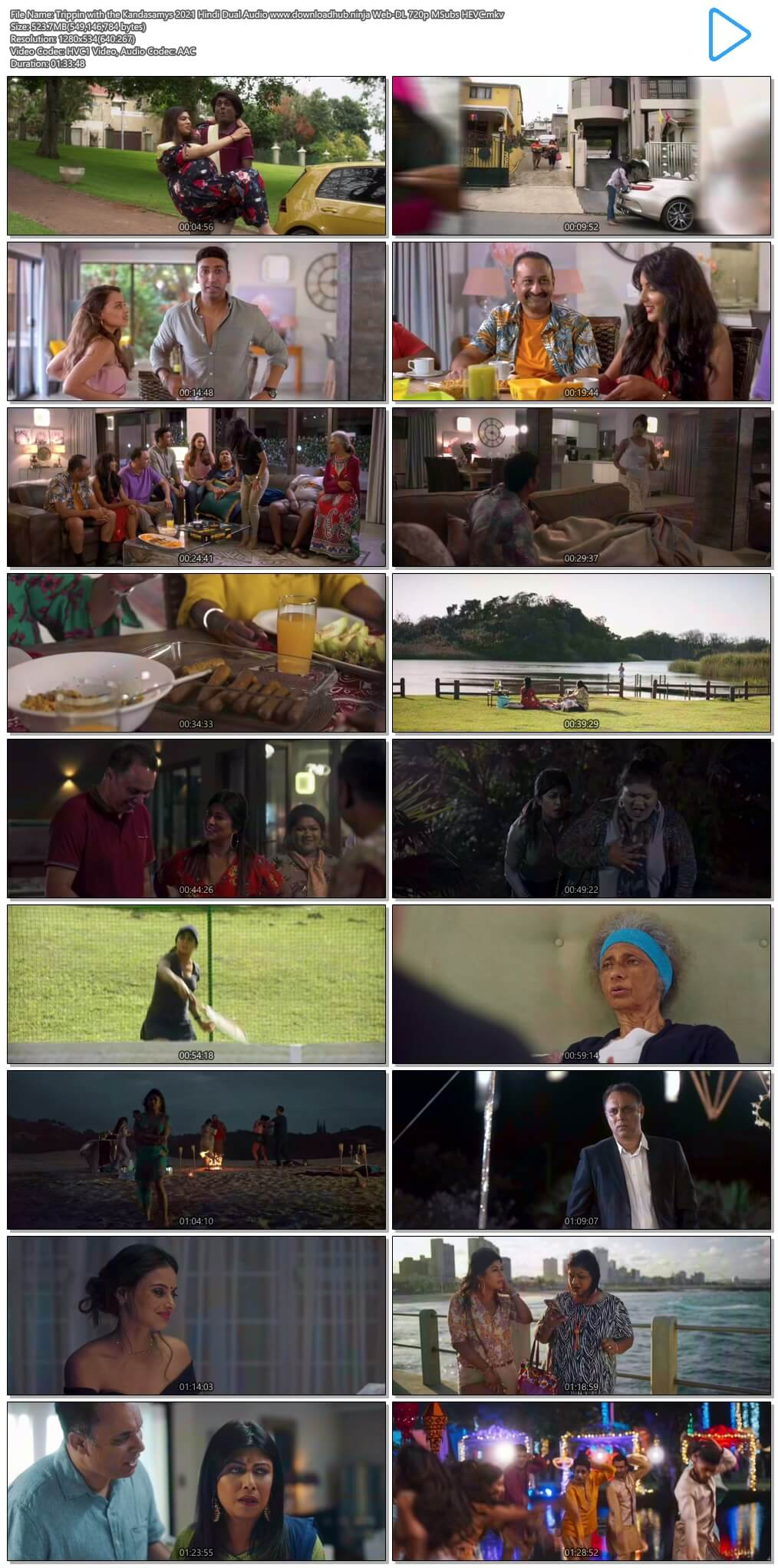 Trippin with the Kandasamys 2021 Hindi Dual Audio 500MB Web-DL 720p MSubs HEVC