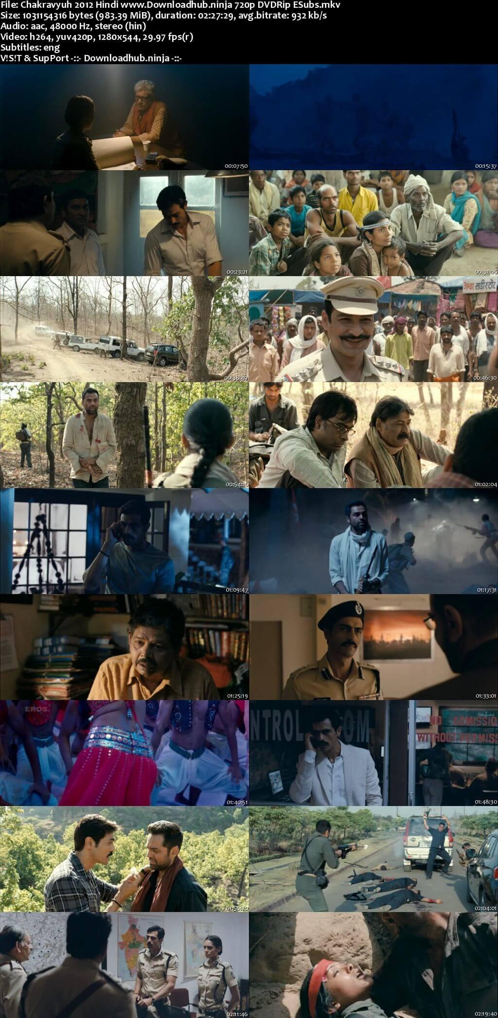 Chakravyuh 2012 Hindi 720p DVDRip ESubs