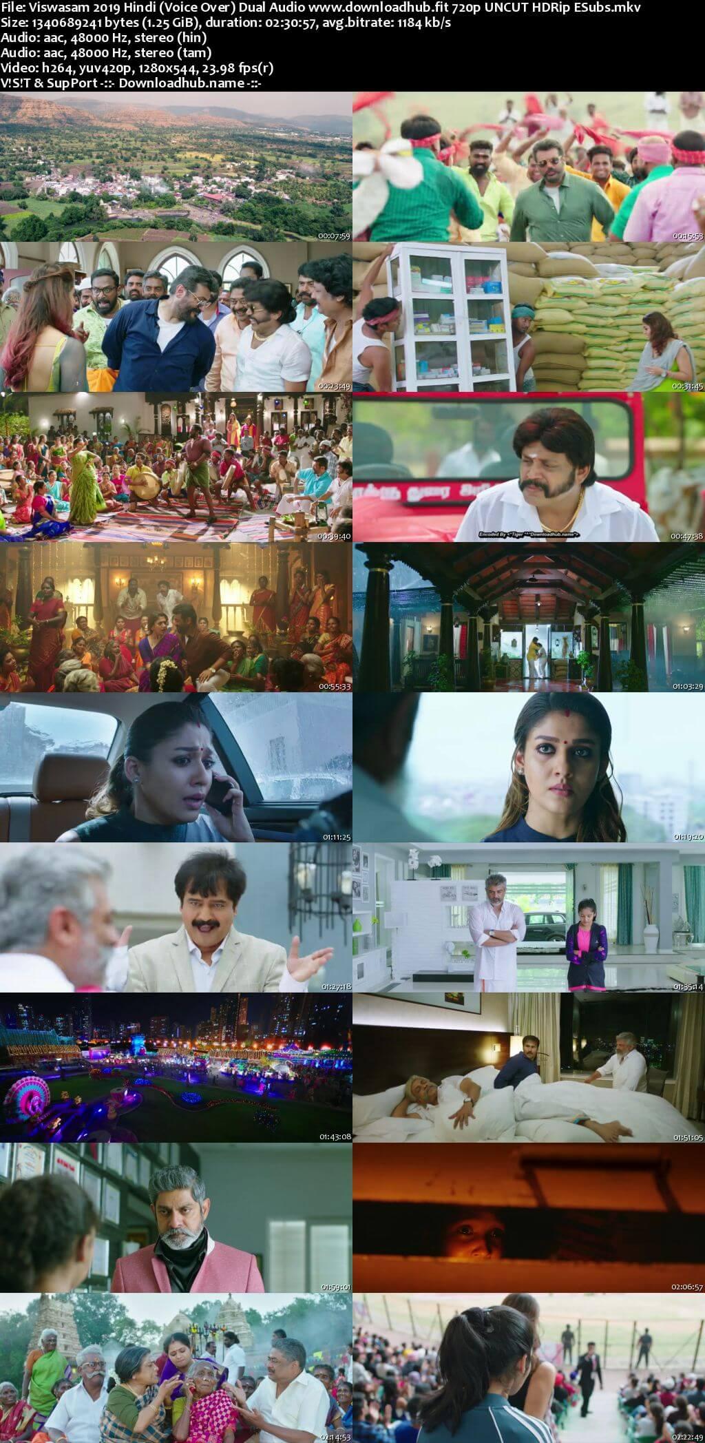 Viswasam 2019 Hindi (Voice Over) Dual Audio 720p 480p UNCUT HDRip ESubs