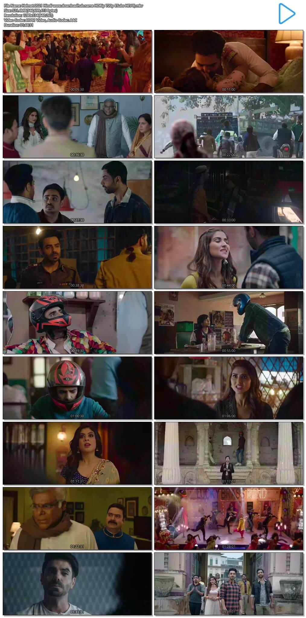 Helmet 2021 Hindi 500MB HDRip 720p ESubs HEVC