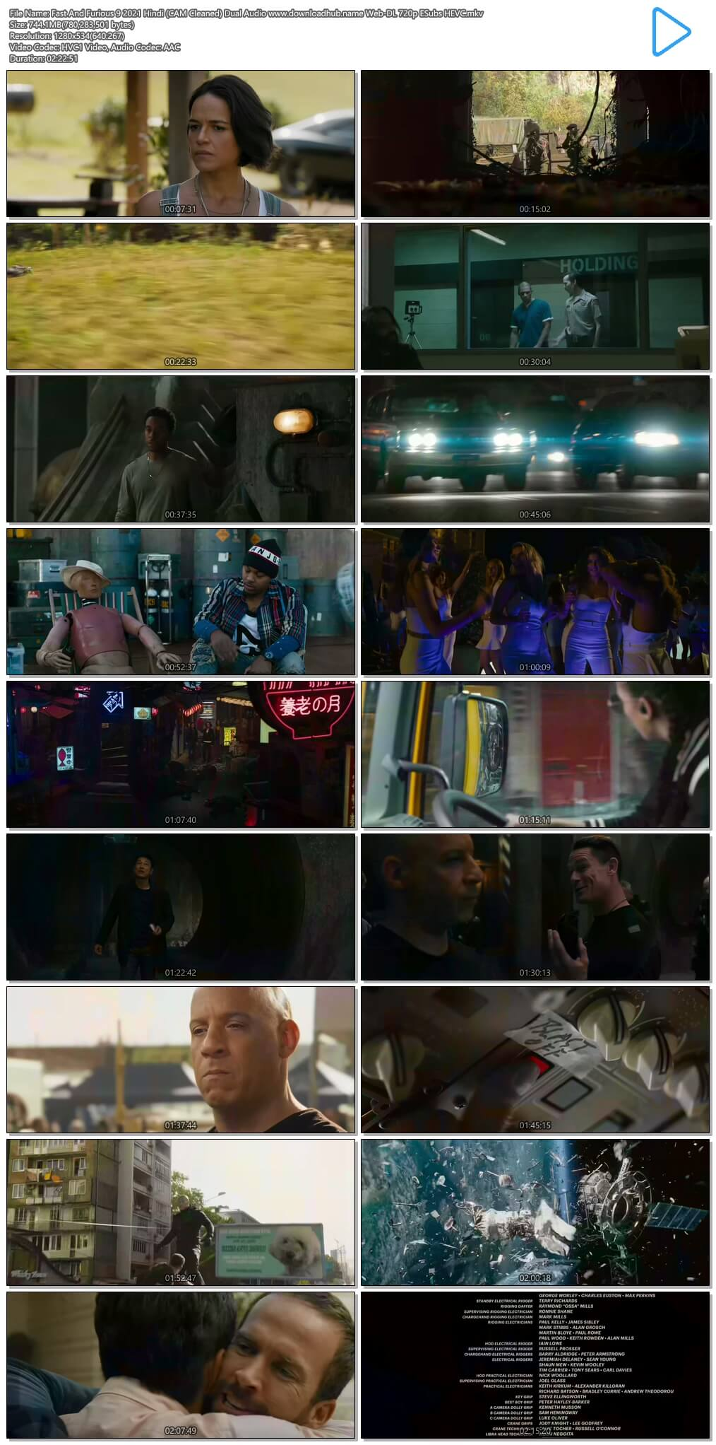 Fast And Furious 9 2021 Hindi (CAM Cleaned) Dual Audio 750MB Web-DL 720p ESubs HEVC
