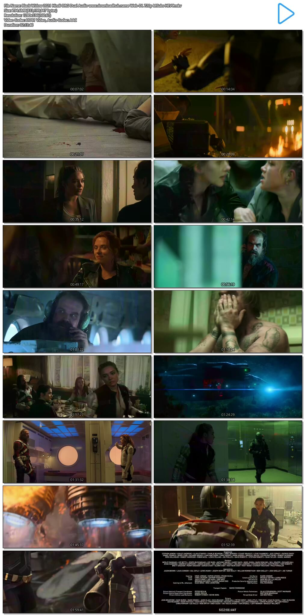 Black Widow 2021 Hindi ORG Dual Audio 800MB Web-DL 720p MSubs HEVC